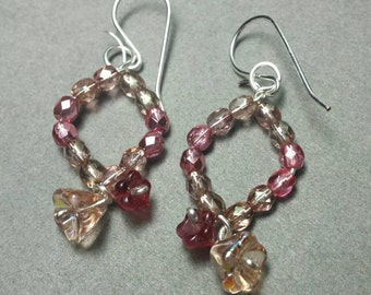 Flourish Bronze and Berry Pink Earrings in Silver