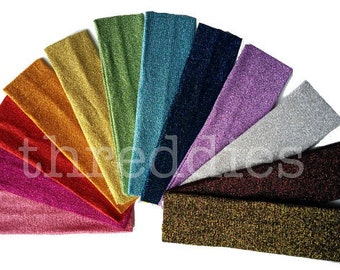 glitter headbands // 5 stretchy, glittery knit headbands // embroidery blanks - pick your colors