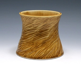 Tree Stump Vase with Honey Glaze