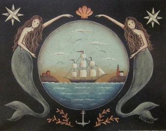 Sirens of the Sea. Nautical Mermaid Ocean Schooner Folk Art Print by Donna Atkins. Beach house, beach cottage decor.