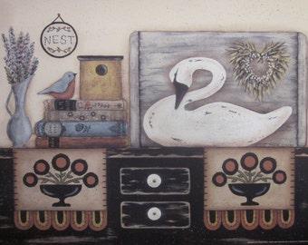 White Swan Still Life Print. Nest. Book stack, Alcott, Jane Eyre. Country cottage, primitive folk art by Donna Atkins