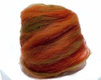 "fiber art batt, wool, roving, spinning felting ""Aspen Leaf"" Orange, Gold, Sienna, olive, Halloween, Thanksgiving, Fall Autumn Color, pumpkin"