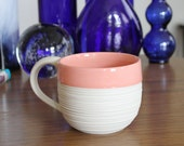 Pink Pottery Mug - Groove Mug in Pink - Large Tea or Coffee Mug - Modern Pink Ceramic Mug