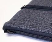 """Men's Kindle Paperwhite Sleeve, Teen Boy's Galaxy Tab S 8.4"""" Sleeve, Kindle Voyage Cover, Kobo Aura Sleeve - Gray Herringbone Wool"""