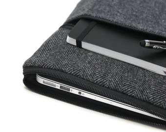 Samsung Galaxy Tab 3 Case Android Tablet Cover Galaxy Note 8 or 10.1 Zipper External Pocket Handmade Men's - Gray Herringbone Wool