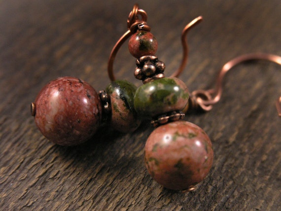 Olive green and salmon earrings genuine natural unakite stone and antique copper handmade earrings