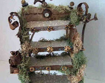 """Fairy Furniture, """"Words of the Forest"""", adorable little book shelf made of natural materials and old paper, about 5"""" high and 4"""" wide"""