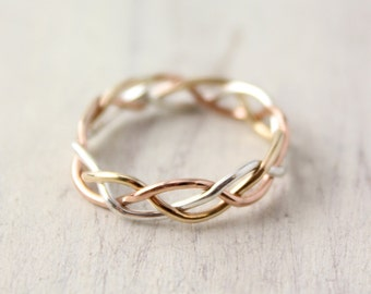 Yellow, Rose and Silver Braided Band
