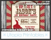 Cowboy Theme Boy 1st Birthday Invitation Cowboy First Birthday Country Western Old West Party Digital Printable Customized Red Brown 5x7