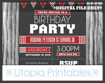Red Gray Chevron Birthday Invitation Modern Contemporary Typography Mod Party Adult Digital Printable 5x7 Dark Grey White