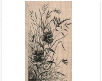 Rubber stamp    Wild Flowers weeds  botanical illustration number 18819  plant   flower craft stamping plate supplies
