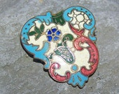 Antique Enamel Champleve Brooch