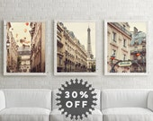 SALE Paris Photography Set, Paris Prints, Large Art, Neutral Wall Art Prints, Paris Decor, French Wall Decor, Eiffel Tower, Metro Sign