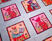 Finished Quilt Top, Crazy Cats Quilt Kit, All Cotton, Bright Colors, Hand Pieced Lap Quilt Size, 38.5 x 40.5 Quilt Top, FREE Shipping U.S.