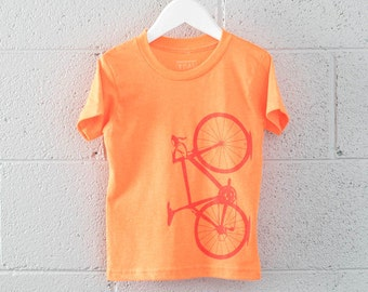 Neon Toddler 2T Tee - Bicycle T-shirt Flame Red on Neon Orange 2T