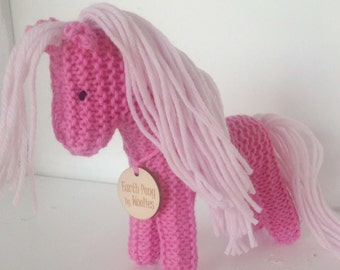 Earth Pony, Waldorf Toy, Stuffed Animal Horse, Eco Kids Toy, HandKnit, All Natural Childrens Toy Pink Pony