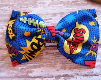 Comic Fabric Hair Bow, Geek Hair Bow, Super Hero Bow