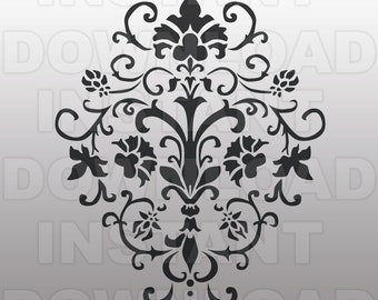 Damask Flourish SVG File Cutting Template-Vector Clip art for Commercial & Personal Use-Cricut Machine,Silhouette Cameo,Wall Decal,Vinyl
