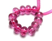 Handmade Lampwork Glass Mini Beads - Bright Pink Lights (12)
