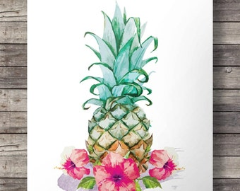 Printable art | Hibiscus watercolor Pineapple - Printable wall art  -  Instant download digital print
