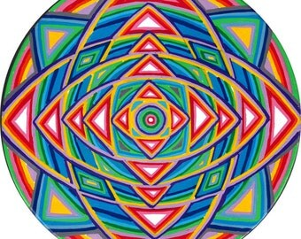 Cosmic Circle, Mandala, Vision Circle, Bohemian, Sacred Geometry, Eco-Friendly, Van Life, Car decor, Mystic, Rainbow, Better than stickers!