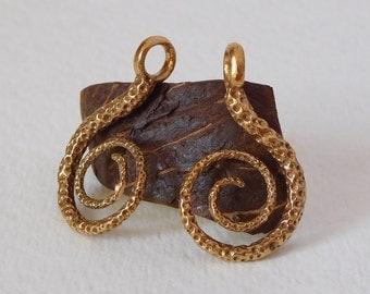 Brass Textured Spiral Earrings / Pendants
