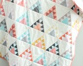 baby quilt coral teepee southwest bohemian by PETUNIAS blanket crib nursery decor shower gift newborn photo prop hipster modern chevron gray