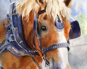 Original Belgian Draft art Haflinger Palomino horse watercolor Painting Charleston Equestrian Decor Gypsy Vanner Cob