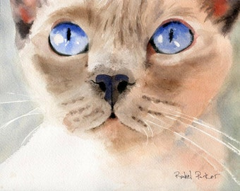 Original Tonkinese Tonk Siamese cat Art Watercolor Painting 8x10 Girls Cat Lover Gift Lilac Platinum Point Applehead Traditional