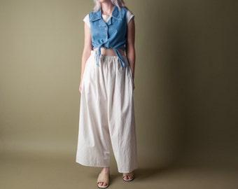 holter denim tie crop top / waist tie top / sleeveless cropped blouse / s / m / 1006t