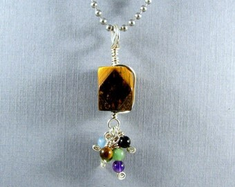 Sterling Silver Tiger Eye Wire Wrapped Pendant Talisman Amulet Style Gemstone Necklace