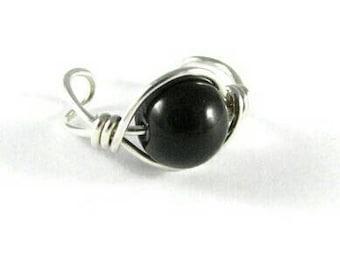 Sterling Silver Black Onyx Ear Cuff Ear Wrap Non Pierced Cartilage Earring Large Bead