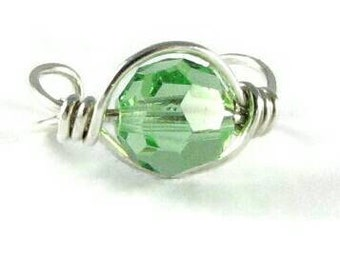 Peridot Ear Cuff Large Bead Sterling Silver Ear Cuff Ear Wrap Non Pierced Cartilage Earring Swarovski Crystal