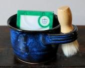 Cobalt Bue Men's Shave Mug Gift Set for Him