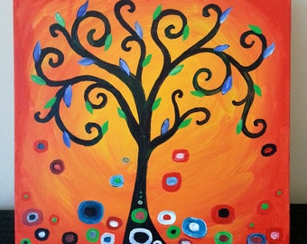 Orange spiral tree painting with blue/green leaves - inspired by Klimt