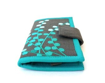 Womens wallet MADE TO ORDER Teal Wallet / Handmade fabric Wallet /  embroidered wallets for women / Women's Gift