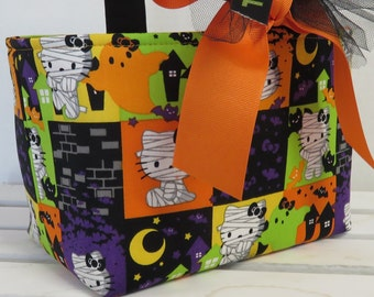 Halloween Trick or Treat Candy Basket Bucket - Made with Hello Kitty Mummy Fabric - Personalized Name Tag Applique Available