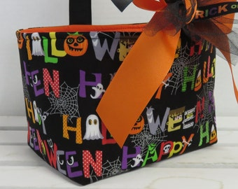 Halloween Trick or Treat Bag Candy Tote Basket Bucket - Funky Multi Color Alphabet Letters Fabric - Personalized Name Tag Applique Available