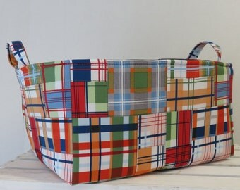XLarge Diaper Caddy -  Storage Container Organizer Bin Basket - Madras Plaid fabric for the outside - Choose the Inside/ Lining fabric