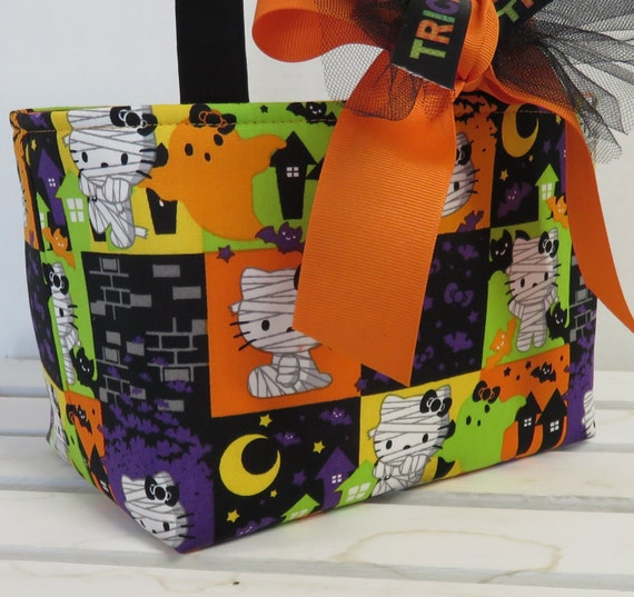 Halloween Trick or Treat Candy Basket Bucket - Made with Hello Kitty Mummy Fabric