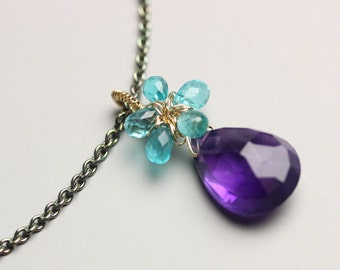 Apatite Flower and Amethyst Necklace