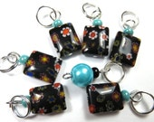 Hand Made Stitch Markers --  Black Millefiori Rectangles with Turquoise