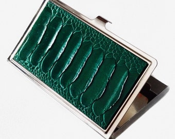 Emerald Green Ostrich Leather Business Card Case - by UNEARTHED