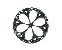 Vintage Black Lace Filigree Hoop Pendants (4x) (P516)