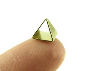 Tiny Raw Brass Pyramid Triangle Tube Charms (8x) (K106-A)