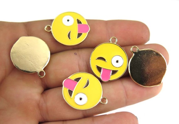 Gold Plated Smiley Wink and Tongue Face  - Emoji Charms (2x) (K304-A)