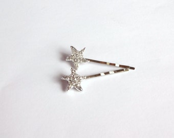 Starfish Rhinestone Hair Pins