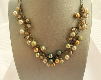 Pearl Iridescent Cluster Necklace