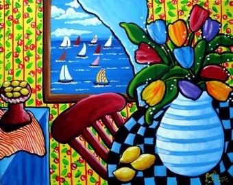 Tulips Lemons Sailboats Whimsical Colorful Still Life Folk Art Giclee Print