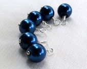 Handmade Navy Blue Charm Dangles, Wire Wrapped 6pc Set Beaded Charms, Jewelry Components, Earring Dangles, Add On Charms